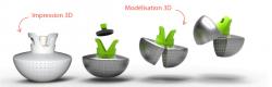 La conception s'est faite par une modélisation 3D puis un prototype imprimé en 3D.
