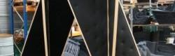 Prototype en bois et feutre synthétique réalisé en collaboration avec l'entreprise Marmonier.