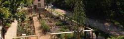 7 jardins placés dans le prolongement de la gare symbolisent les 7 sentiers ouverts sur les quartiers de Caluire et Cuire.